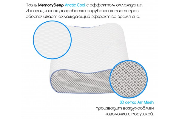 Анатомическая подушка с эффектом памяти MemorySleep S Medium Gel